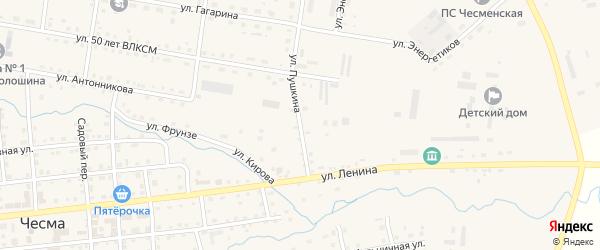 Улица Пушкина на карте села Чесмы с номерами домов