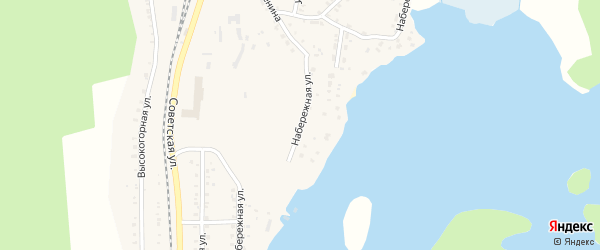Набережная улица на карте поселка Вишневогорска с номерами домов