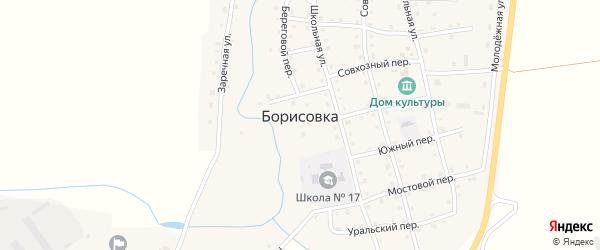 Переулок Первомая на карте села Борисовки с номерами домов