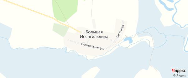 Карта деревни Большая Исянгильдина в Челябинской области с улицами и номерами домов
