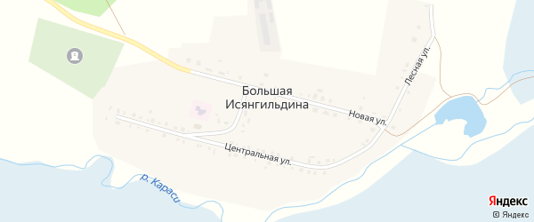 Лесная улица на карте деревни Большая Исянгильдина с номерами домов
