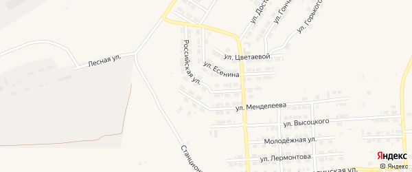 Российская улица на карте Карталы с номерами домов