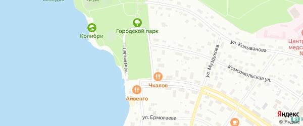 Парковая улица на карте Новогорного поселка с номерами домов