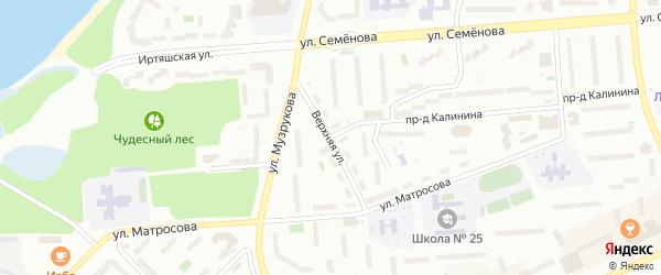 Верхняя улица на карте Новогорного поселка с номерами домов