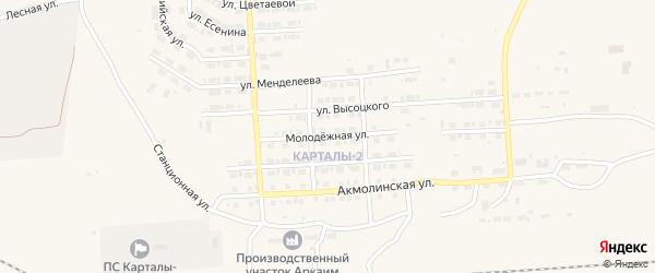 Молодежная улица на карте Карталы с номерами домов