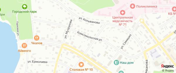 Комсомольская улица на карте Озерска с номерами домов