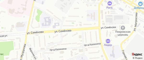 Улица Семенова на карте Озерска с номерами домов