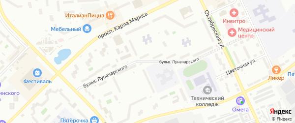 Бульвар Луначарского на карте Озерска с номерами домов