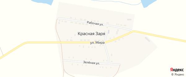 Рабочая улица на карте поселка Красной Зари с номерами домов