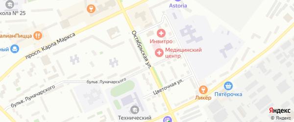 Октябрьская улица на карте Новогорного поселка с номерами домов