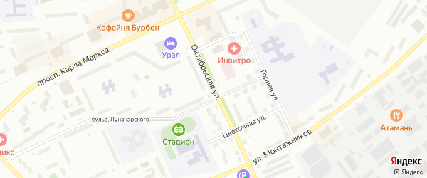 Октябрьская улица на карте Озерска с номерами домов