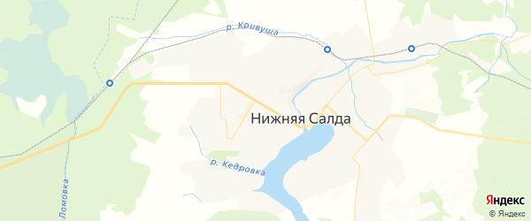 Карта Нижней Салды с районами, улицами и номерами домов: Нижняя Салда на карте России