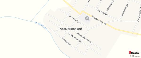 Центральная улица на карте Атамановского поселка с номерами домов