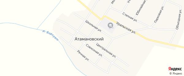 Зеленый переулок на карте Атамановского поселка с номерами домов