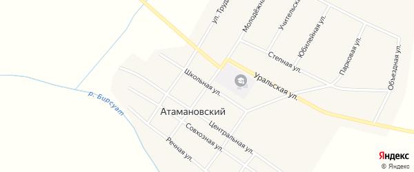 Школьная улица на карте Атамановского поселка с номерами домов