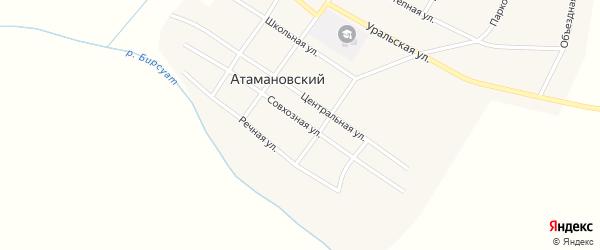 Совхозная улица на карте Атамановского поселка с номерами домов