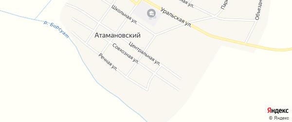 Колхозный переулок на карте Атамановского поселка с номерами домов