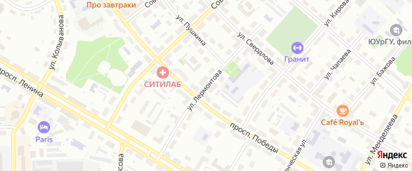 Улица Лермонтова на карте Озерска с номерами домов