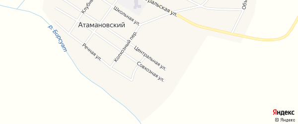 Новый переулок на карте Атамановского поселка с номерами домов