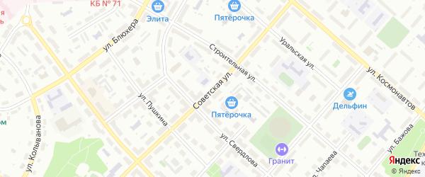 Советская улица на карте Озерска с номерами домов