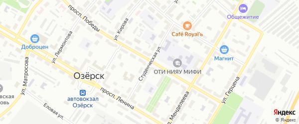 Студенческая улица на карте Озерска с номерами домов