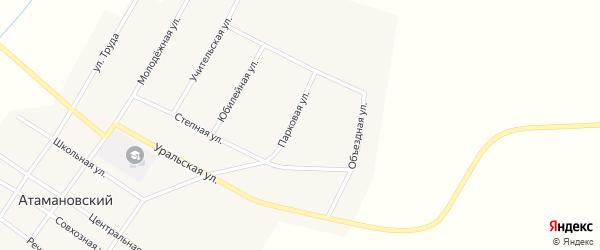 Парковая улица на карте Атамановского поселка с номерами домов