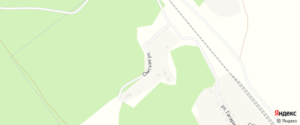 Омская улица на карте поселка Бижеляка с номерами домов