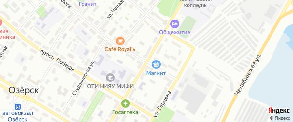 Улица Менделеева на карте Озерска с номерами домов