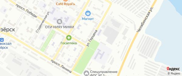 Улица Герцена на карте Озерска с номерами домов