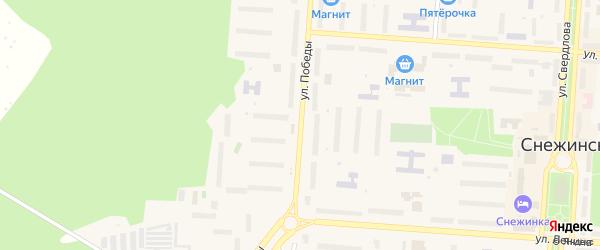 Улица Победы на карте Снежинска с номерами домов