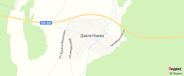 Карта деревни Давлетбаева в Челябинской области с улицами и номерами домов