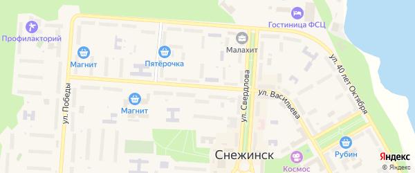 Улица Васильева на карте Снежинска с номерами домов