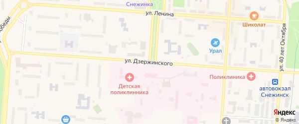 Улица Дзержинского на карте Снежинска с номерами домов