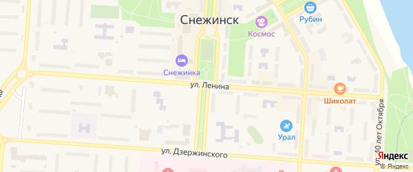 Территория Городок на карте Снежинска с номерами домов
