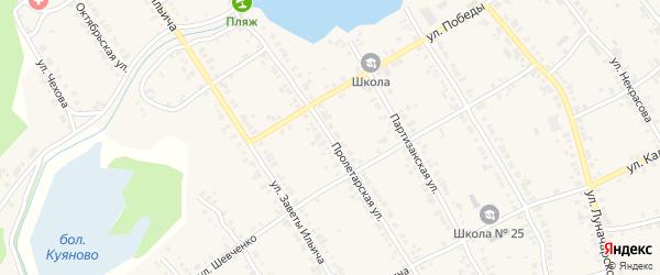 Пролетарская улица на карте Касли с номерами домов