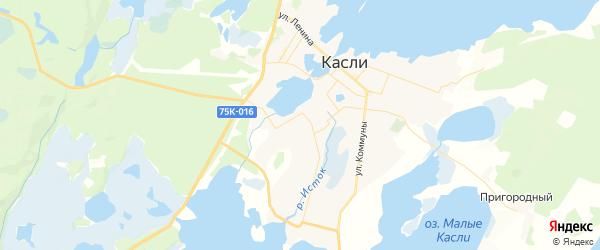 Карта Касли с районами, улицами и номерами домов