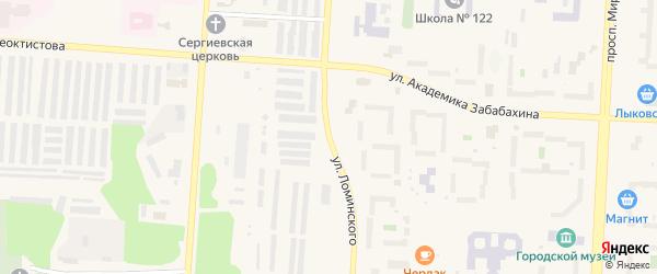 Улица Ломинского на карте Снежинска с номерами домов