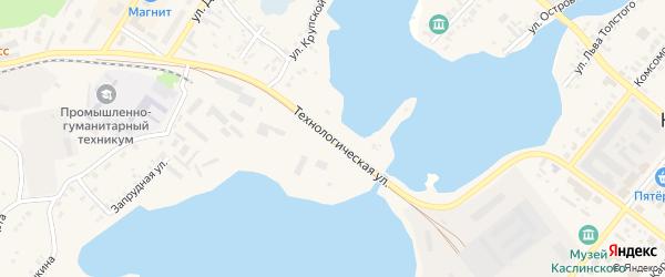 Технологическая улица на карте Касли с номерами домов