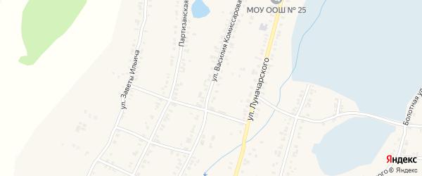 Улица Василия Комиссарова на карте Касли с номерами домов