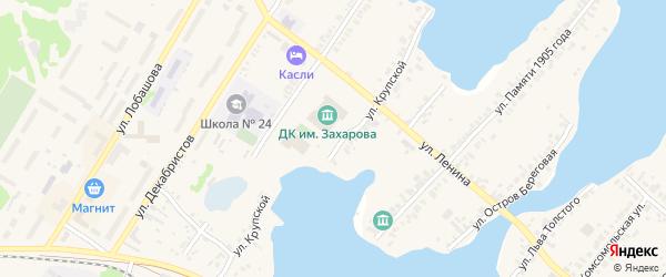 Улица Крупской на карте Касли с номерами домов
