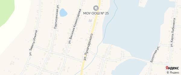 Улица Луначарского на карте Касли с номерами домов