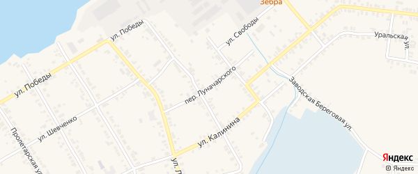Переулок Луначарского на карте Касли с номерами домов