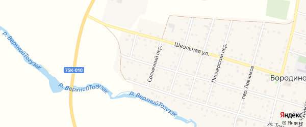 Солнечный переулок на карте села Бородиновки с номерами домов