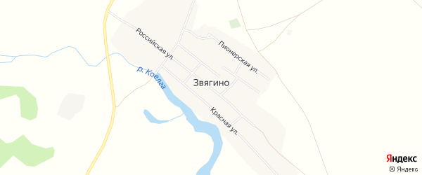 Карта деревни Звягино в Челябинской области с улицами и номерами домов