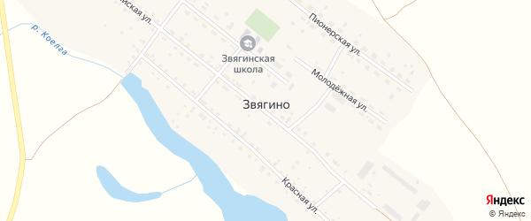 Российская улица на карте деревни Звягино с номерами домов