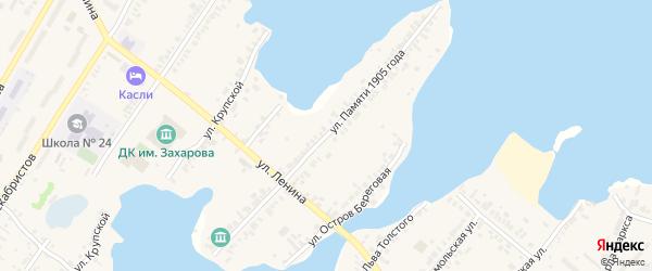 Улица Памяти 1905 года на карте Касли с номерами домов