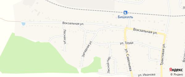 Западная улица на карте поселка Бишкиля с номерами домов