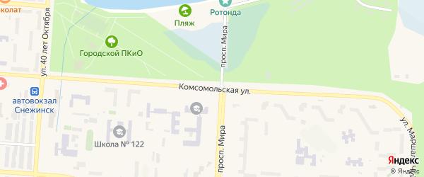 Комсомольская улица на карте Снежинска с номерами домов