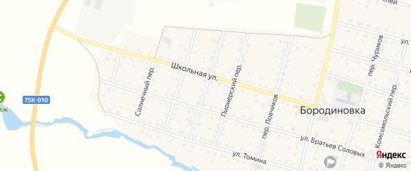 Переулок Механизаторов на карте села Бородиновки с номерами домов