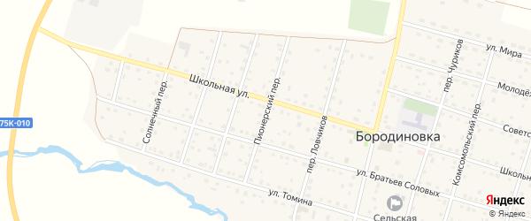 Пионерский переулок на карте села Бородиновки с номерами домов